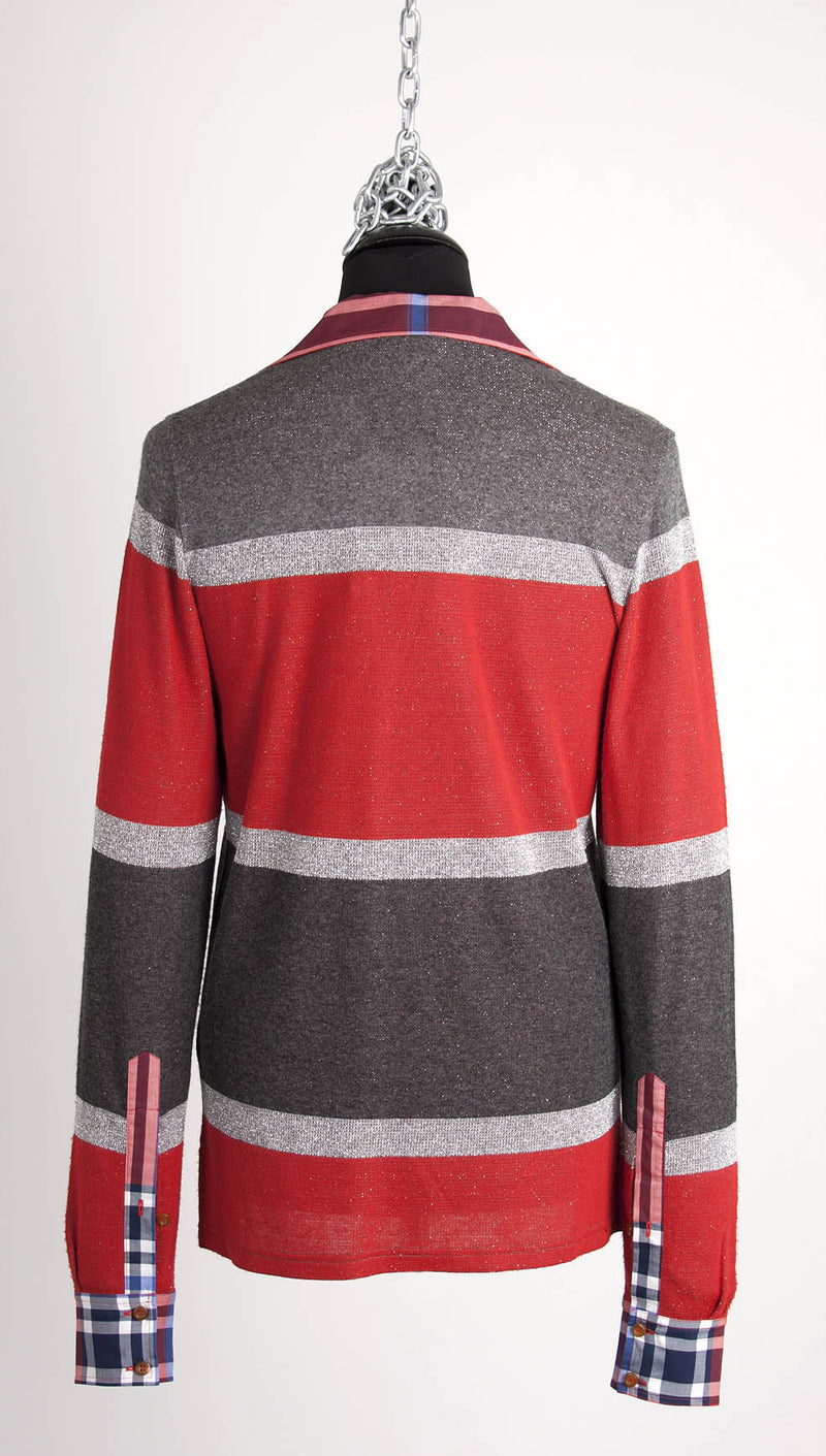 vivienne westwood man metallic knitted polo red stripe back