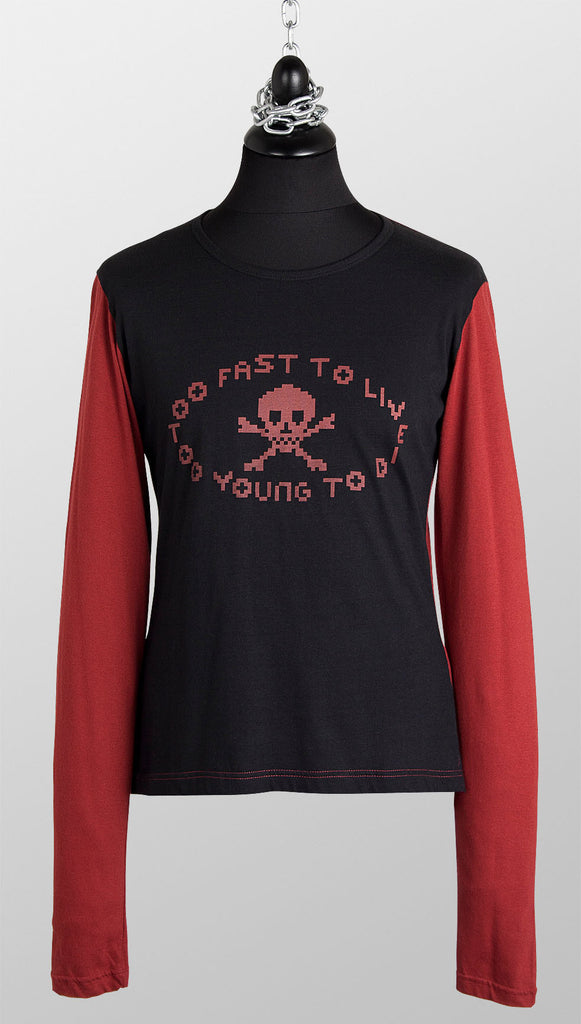 Vivienne Westwood MAN 'Too Fast To Live' L/S T-shirt – Black & Burgundy