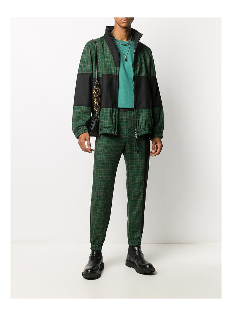 Check Windbreaker Track Top - Green