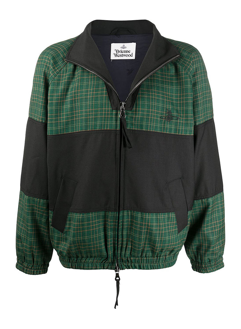 vivienne westwood check windbreaker track top green aw 2020