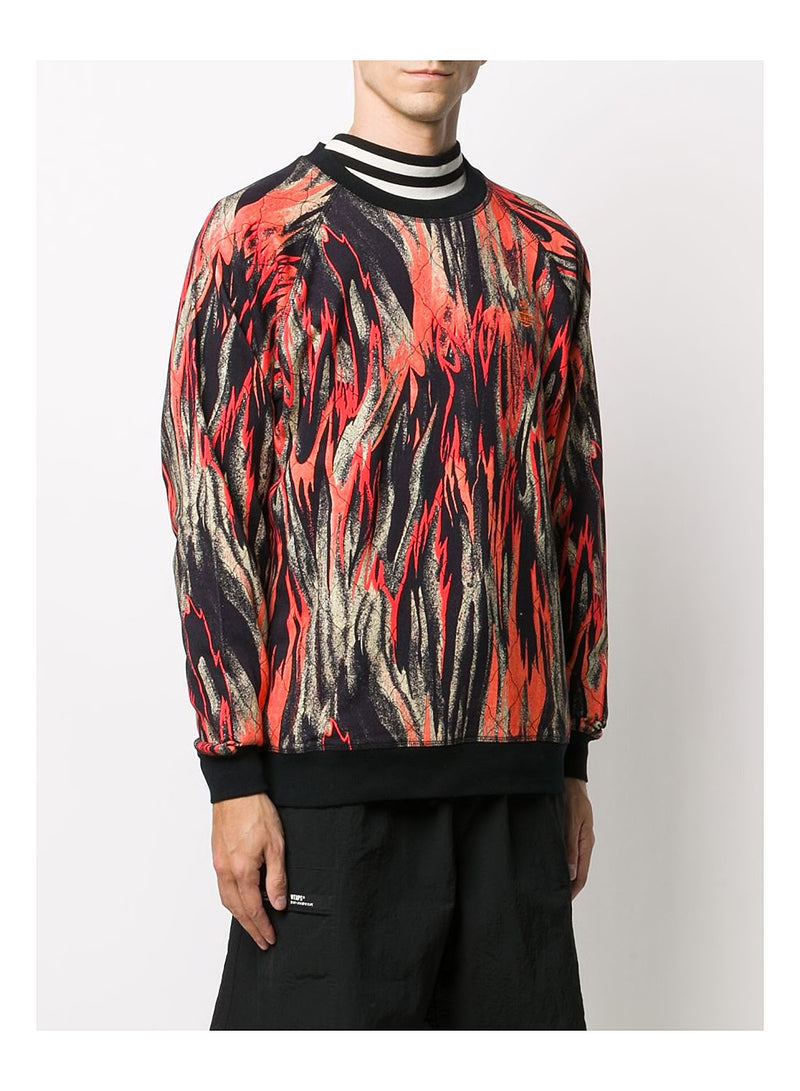 Raglan Flame Sweat - Printed Flames