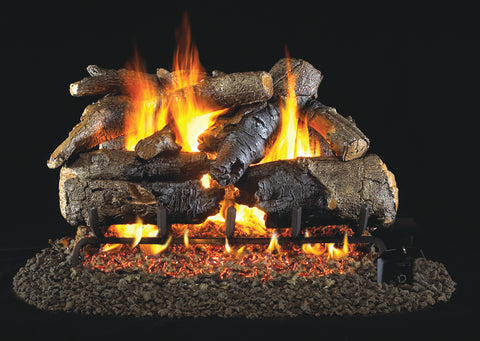 Charred American Oak by Peterson Real Fyre Gas Log Set Vented
