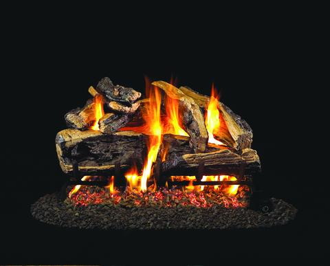 Charred Rugged Split Oak by Peterson Real Fyre Gas Log Set Vented with Variable Height Remote