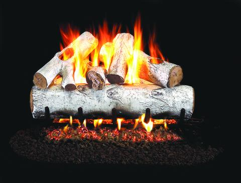 White Birch by Peterson Real Fyre Gas Log Set Vented with Variable Height Remote