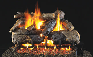 Charred American Oak by Peterson Real Fyre Gas Log Set Vented with Variable Height Remote