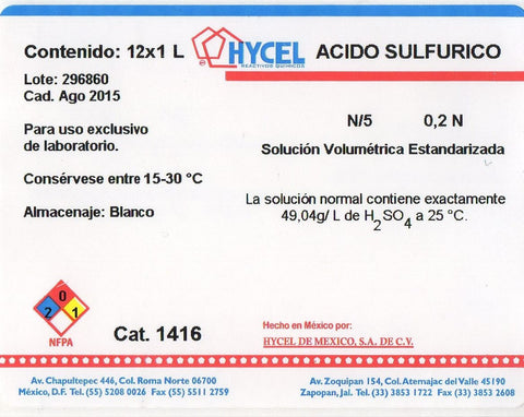 ACIDO SULFURICO 1 NORMAL o FRACCIONAL (a especificación )