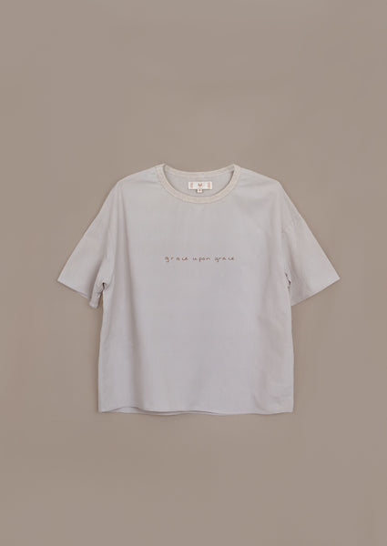 "Intuit Tee ¦ Neutral ¦ ""Grace Upon Grace"" Embroidery"