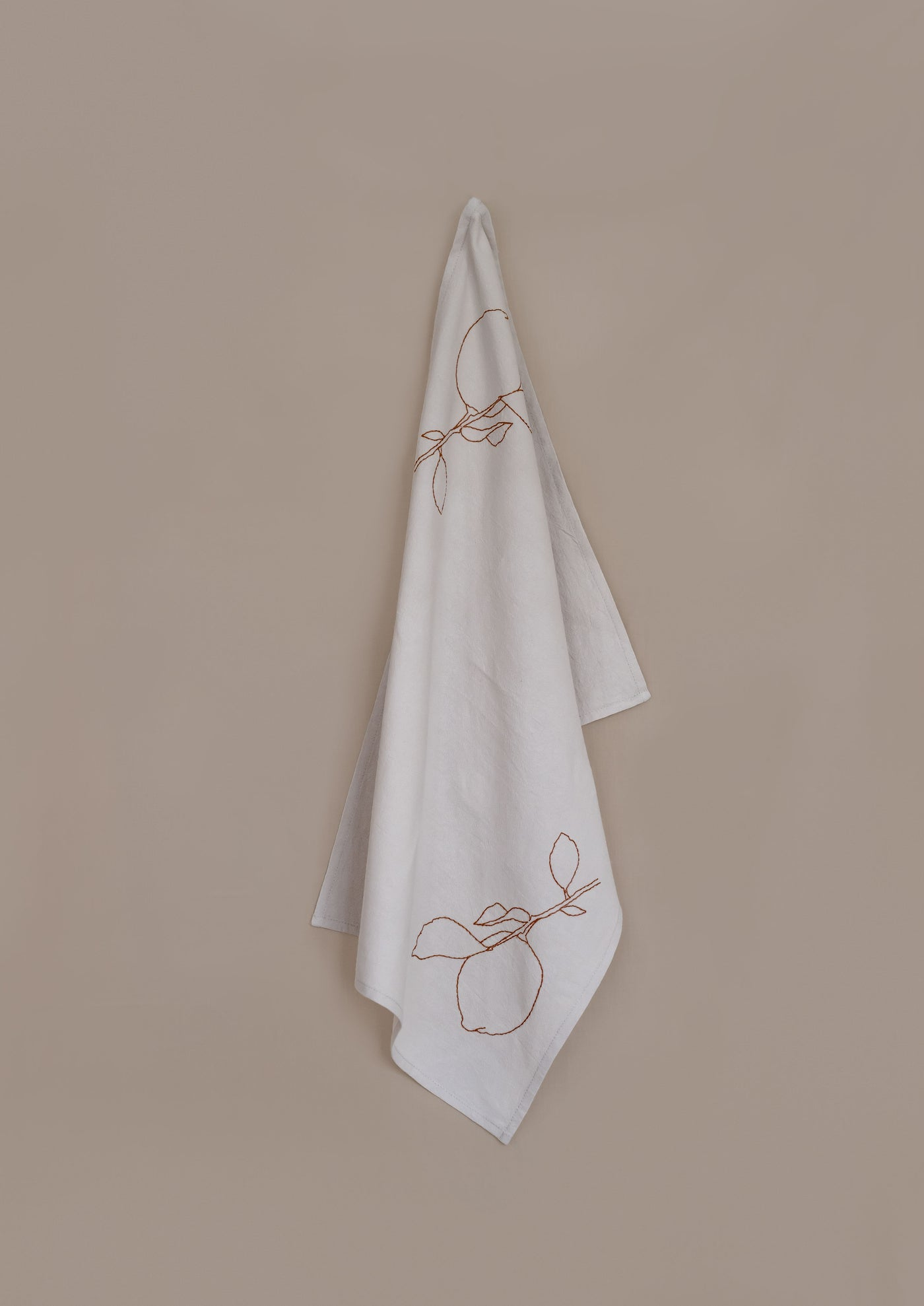 Tea Towel ¦ Neutral ¦ Lemon Branch Embroidery