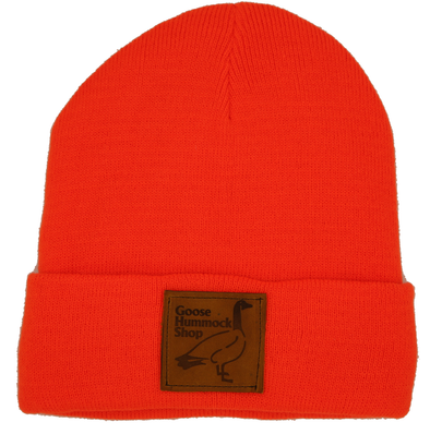 GOOSE LEATHER PATCH FLEECE-LINED BEANIE