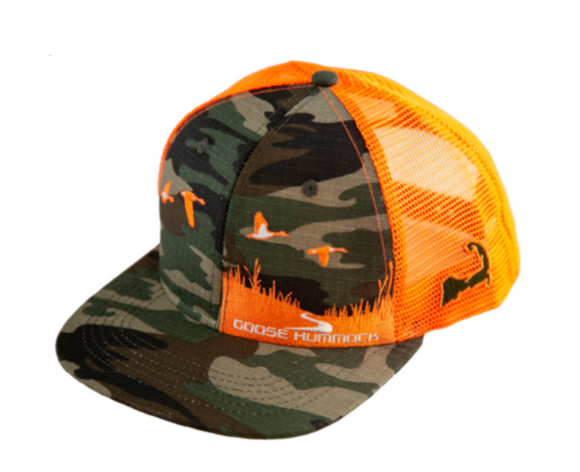 GH CAPE COD SERIES FLAT BRIM HAT MARSH SIDE CAMO/ORANGE