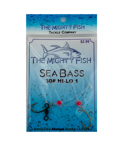 THE MIGHT FISH TACKLE COMANY SEA BASS HI-LO RIG 30# SIZE 1 HOOK