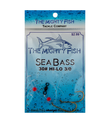 THE MIGHTY FISH TACKLE COMPANY SEA BASS HI-LO RIG 30# SIZE 3/0 HOOK