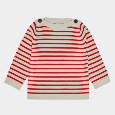 Baby Pullover Ecru Red