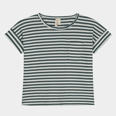 T-Shirt Boxy Blue-White