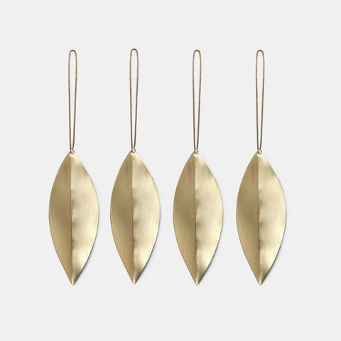 Brass Ornamente Leaf 4er Set
