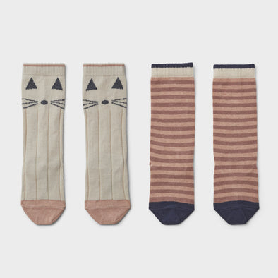 Kniesocken Cat Stripe 2-er Pack