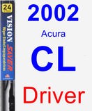 Driver Wiper Blade for 2002 Acura CL - Vision Saver