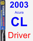 Driver Wiper Blade for 2003 Acura CL - Vision Saver