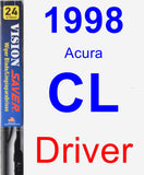 Driver Wiper Blade for 1998 Acura CL - Vision Saver