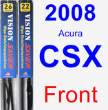 Front Wiper Blade Pack for 2008 Acura CSX - Vision Saver