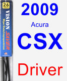 Driver Wiper Blade for 2009 Acura CSX - Vision Saver