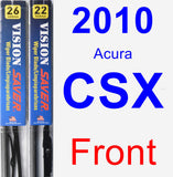 Front Wiper Blade Pack for 2010 Acura CSX - Vision Saver