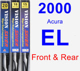 Front & Rear Wiper Blade Pack for 2000 Acura EL - Vision Saver