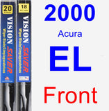 Front Wiper Blade Pack for 2000 Acura EL - Vision Saver