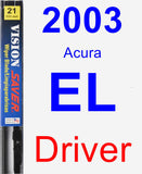 Driver Wiper Blade for 2003 Acura EL - Vision Saver