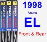 Front & Rear Wiper Blade Pack for 1998 Acura EL - Vision Saver