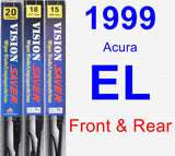 Front & Rear Wiper Blade Pack for 1999 Acura EL - Vision Saver