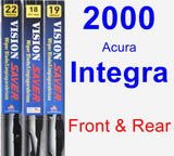 Front & Rear Wiper Blade Pack for 2000 Acura Integra - Vision Saver