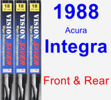 Front & Rear Wiper Blade Pack for 1988 Acura Integra - Vision Saver