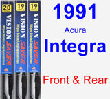 Front & Rear Wiper Blade Pack for 1991 Acura Integra - Vision Saver