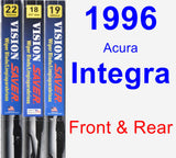 Front & Rear Wiper Blade Pack for 1996 Acura Integra - Vision Saver