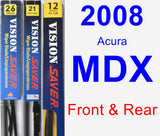 Front & Rear Wiper Blade Pack for 2008 Acura MDX - Vision Saver