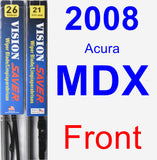 Front Wiper Blade Pack for 2008 Acura MDX - Vision Saver