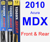 Front & Rear Wiper Blade Pack for 2010 Acura MDX - Vision Saver