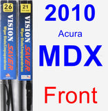 Front Wiper Blade Pack for 2010 Acura MDX - Vision Saver