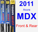 Front & Rear Wiper Blade Pack for 2011 Acura MDX - Vision Saver