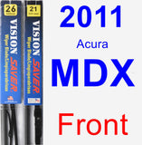 Front Wiper Blade Pack for 2011 Acura MDX - Vision Saver