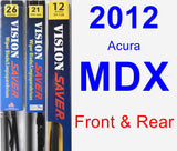 Front & Rear Wiper Blade Pack for 2012 Acura MDX - Vision Saver