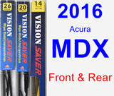 Front & Rear Wiper Blade Pack for 2016 Acura MDX - Vision Saver
