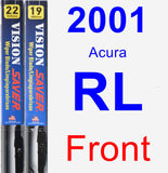 Front Wiper Blade Pack for 2001 Acura RL - Vision Saver