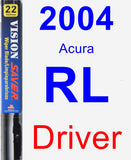 Driver Wiper Blade for 2004 Acura RL - Vision Saver