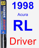 Driver Wiper Blade for 1998 Acura RL - Vision Saver