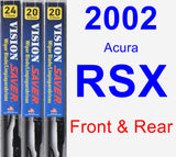 Front & Rear Wiper Blade Pack for 2002 Acura RSX - Vision Saver