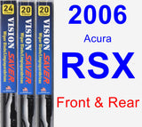 Front & Rear Wiper Blade Pack for 2006 Acura RSX - Vision Saver