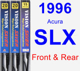 Front & Rear Wiper Blade Pack for 1996 Acura SLX - Vision Saver