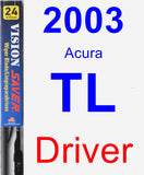 Driver Wiper Blade for 2003 Acura TL - Vision Saver